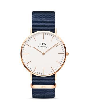 Classic Bayswater Nato Watch, 40Mm, Blue/ White/ Rose Gold