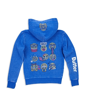 Butter Girls' Fleece Embellished Emoji Hoodie - Little Kid, Big Kid