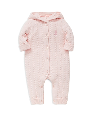 Little Me Girls CableKnit Hooded Teddy Bear Coverall  Baby