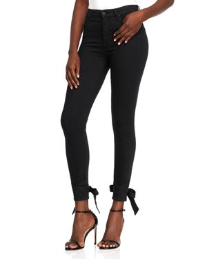 Mother Looker High-Rise Ankle Bow Skinny Jeans in Not Guilty
