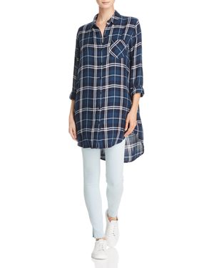 Bianca Oversized Plaid Button-Down Shirt in Spruce White