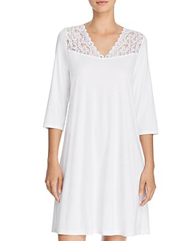Hanro - Moments Lace-Trim Three-Quarter Sleeve Cotton Gown