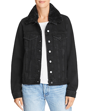 Nobody Fleur Faux-Fur-Trimmed Denim Jacket in Plush