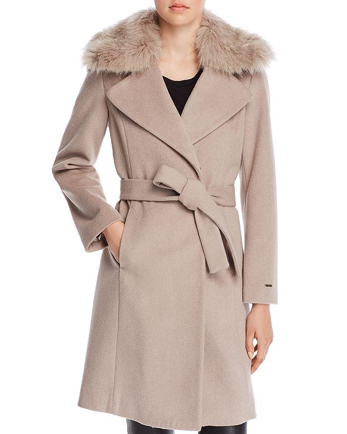 T Tahari - Fiona Faux Fur Trim Wrap Coat