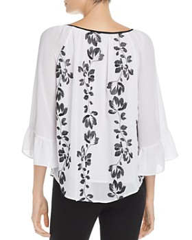 Jonathan Martin - Floral Sheer-Sleeve Top