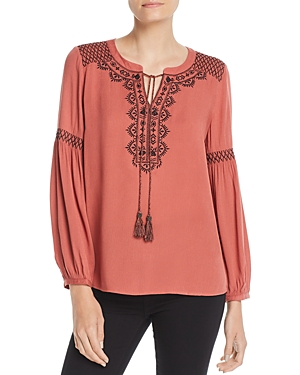 Daniel Rainn Contrast-Embroidered Peasant Top