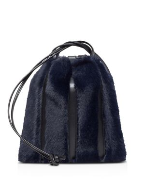 VASIC Maiden Small Leather & Faux Fur Bucket Bag in Navy/Gold