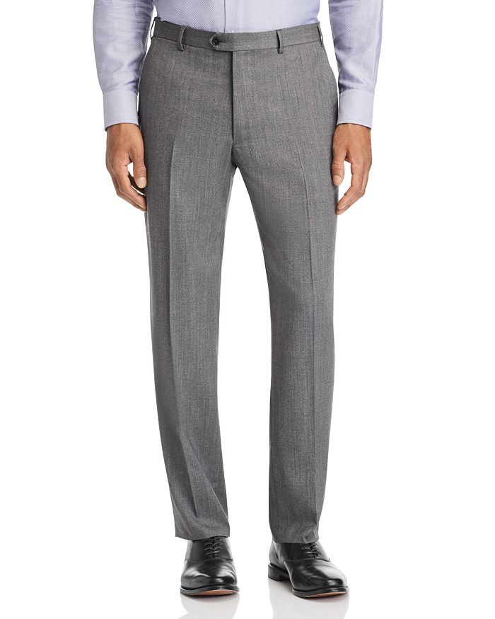 Emporio Armani Regular Fit Suit Pants In Solid Gray