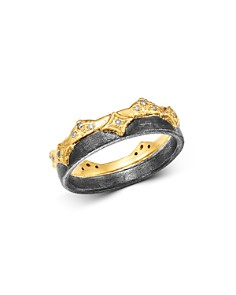 Armenta - 18K Yellow Gold & Blackened Sterling Silver Old World Champagne Diamond Wide Band Ring