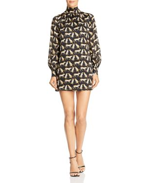 MILLY Sherie Cheetah-Printed Silk Mini Dress in Black