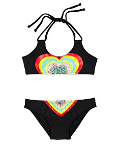 PilyQ - Girls' Embroidered Heart 2-Piece Swimsuit - Little Kid, Big Kid
