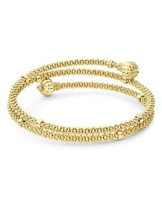 LAGOS - 18K Yellow Gold Caviar Pave Diamond End Cap Coil Bracelet