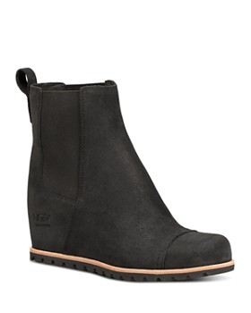 UGG® - Women's Pax Round Toe Leather Wedge Booties