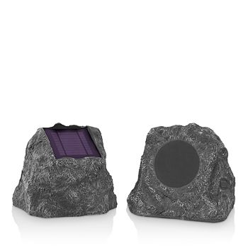 Innovative Technology - Solar-Charging Bluetooth Outdoor Rock Speakers, Set of 2
