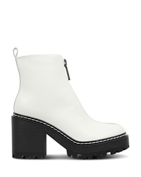 Kendall + Kylie - Women's Jace Round Toe Leather Platform Booties