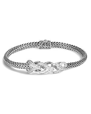 John Hardy Sterling Silver Classic Chain Pave Diamond Slim Bracelet