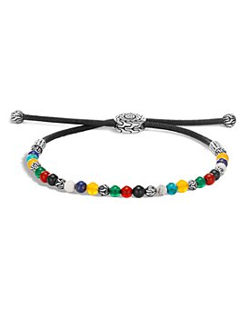 JOHN HARDY - Sterling Silver Classic Chain White Howlite, Black Onyx, Green Onyx, Red Onyx, Yellow Agate, Turquoise & Lapis Lazuli Bead Pull Chain Bracelet