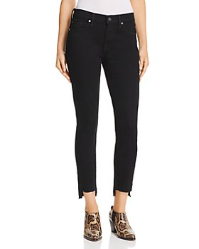 7 For All Mankind - Step-Hem Skinny Jeans in Washed Overdye Black - 100% Exclusive