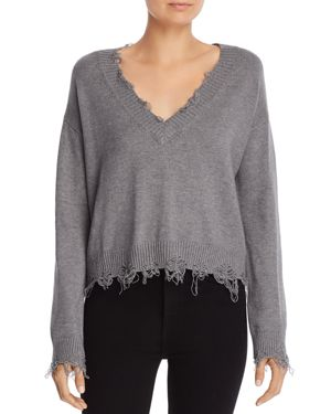 HONEY PUNCH Distressed V-Neck Sweater in Charcoal