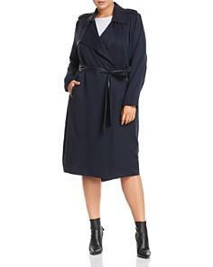 Badgley Mischka Plus - Faux-Leather Trim Trench Coat