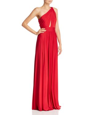 Cibele Pleated 1-Shoulder Jersey Gown, Ruby