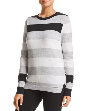 New York Striped Crewneck Sweater in Charcoal from DKNY