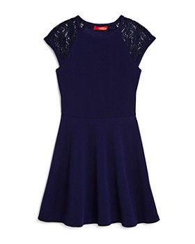 AQUA - Girls' Textured Lace-Sleeve Dress, Big Kid - 100% Exclusive