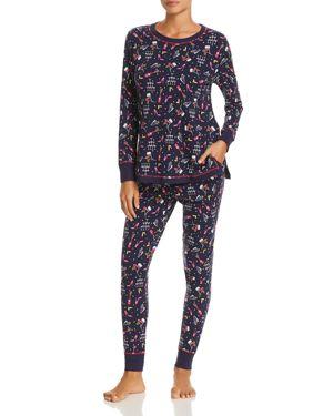 JANE & BLEECKER NEW YORK New Years Eve Knit Pajama Set in Blue Multi