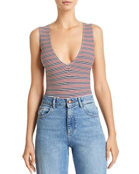 Little Black Bodysuit - Inessa Multicolor-Stripe Bodysuit