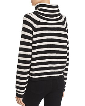 AQUA - Oversized Striped Turtleneck Sweater - 100% Exclusive