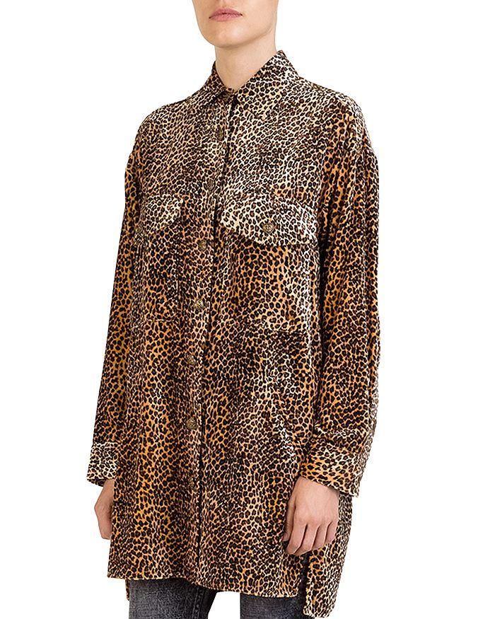 The Kooples - Leopard-Print Velvet Tunic Shirt