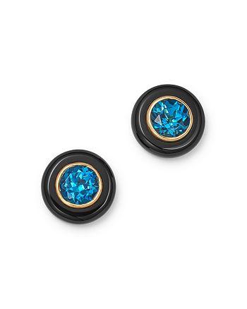 Bloomingdale's - London Blue Topaz & Black Onyx Stud Earrings in 14K Yellow Gold - 100% Exclusive
