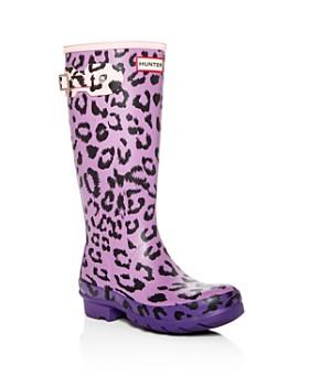 Hunter - Girls' Original Matte Leopard-Print Rain Boots - Little Kid, Big Kid