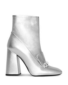 Burberry - Women's Brabant Metallic Leather High Block Heel Booties