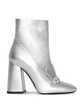 Burberry - Women's Brabant Metallic Leather High Block Heel Booties