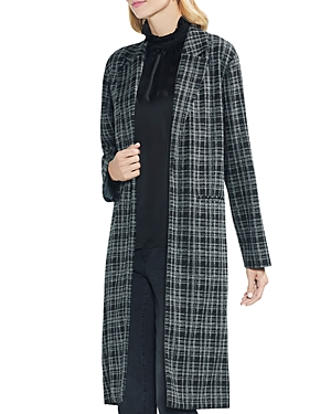 Vince Camuto Plaid Open-Front Duster Jacket