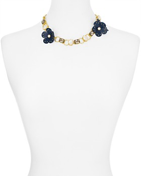 kate spade new york - Chain Leather Flower Necklace, 17""