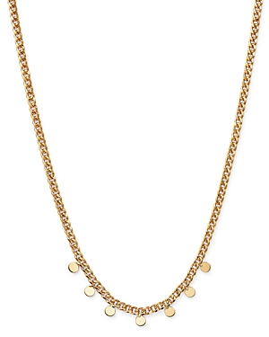 Zoe Chicco 14K Yellow Gold Itty Bitty Dangling Discs Curb Chain Necklace, 16-Jewelry & Accessories