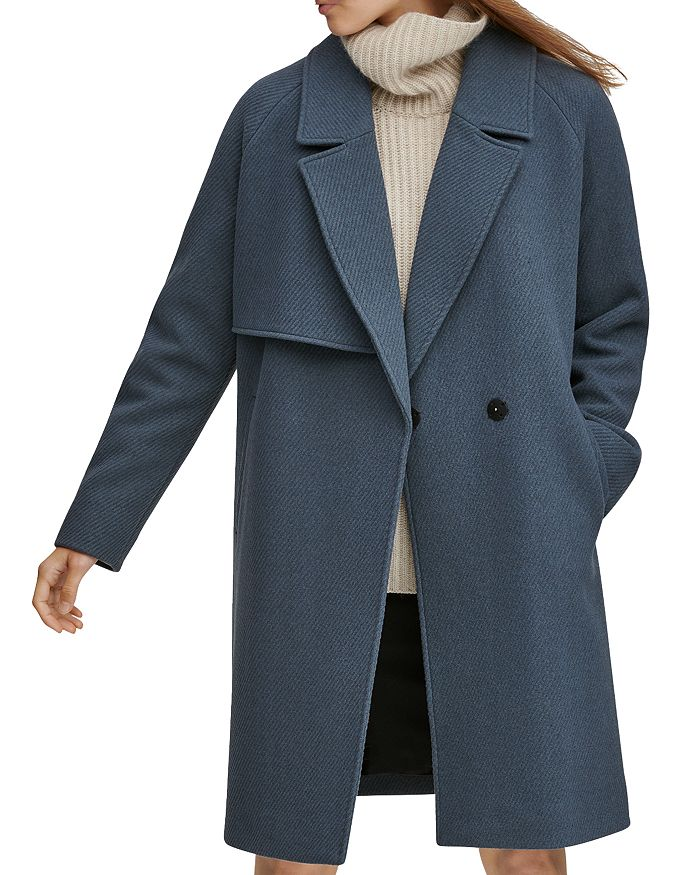 Andrew Marc Sculpted Twill Notched Collar Coat In Storm Blue