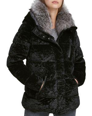 ANDREW MARC Vara Crushed Velvet Down Jacket W/ Fur Hood in Black