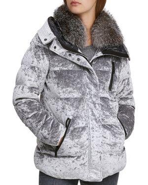 ANDREW MARC Vara Crushed Velvet Down Jacket W/ Fur Hood in Silver