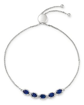Bloomingdale's - Blue Sapphire & Diamond Bolo Bracelet in 14K White Gold - 100% Exclusive