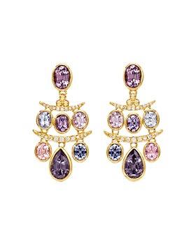Temple St. Clair - 18K Yellow Gold Seta Diamond & Spinel Small Fringe Earrings