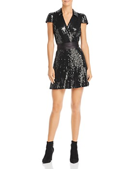 Alice and Olivia - Bayley Sequined Tie-Waist Dress