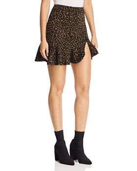 AQUA - Flocked Leopard Print Mini Skirt - 100% Exclusive