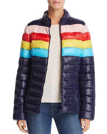 AQUA Packable Rainbow-Stripe Puffer Coat - 100% Exclusive