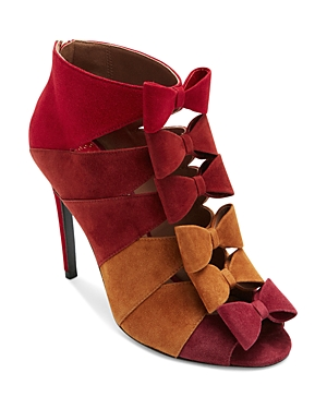 Laurence Dacade WOMEN'S SHADOW SUEDE BOW-FRONT OPEN-TOE BOOTIES