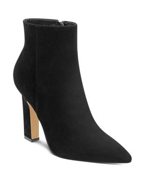 MARC FISHER LTD. Mayae Suede Pointed Toe High-Heel Booties - 100% Exclusive in Black