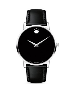 Movado - Museum Classic Black Leather Strap Watch, 40mm