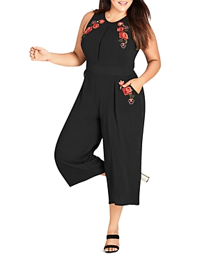 City Chic Plus Rose Embroidered Crop Jumpsuit
